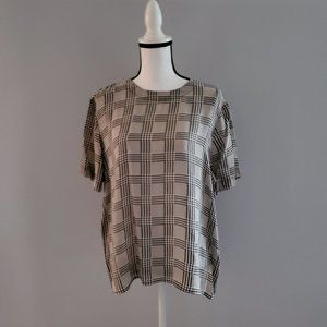 Vintage Anna & Frank 100% Silk Checkered Top XL